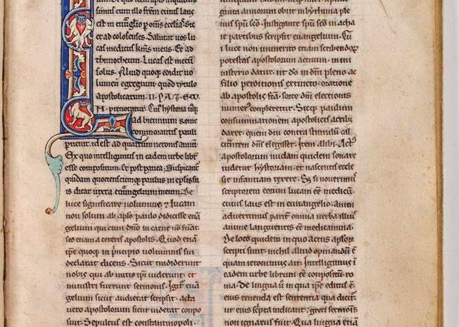 Illuminated capital from P001941654: Tractatus Super Acta Apostolorum Comment, in Actus apostolorum (1200 - 1225) in Armagh Robinson Library