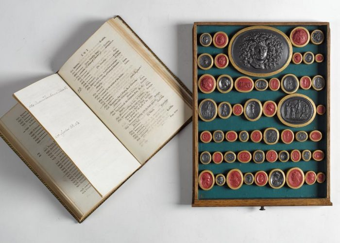 P001962929: A Catalogue of Impressions in Sulphur of Antique and Modern Gems From Which Pastes are Made and Sold, by J. Tassie Compton Street, 2nd door from Greek Street Soho, 1775, plus a drawer of Tassie gems, in Armagh Robinson Library