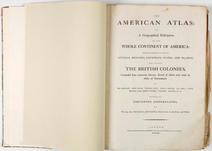 Title page of P001147850: The American atlas, or, A geographical description of the whole continent of America, 1776 in Armagh Robinson Library