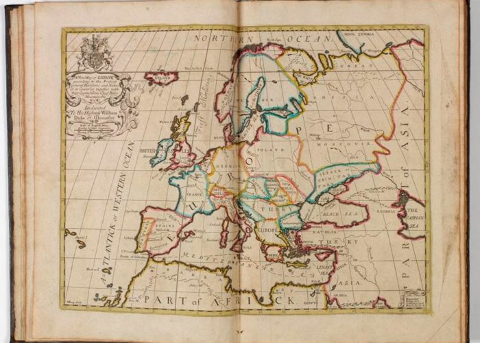 Title page of P001147974: A new sett of maps both of antient and present geography, 1714 in Armagh Robinson Library