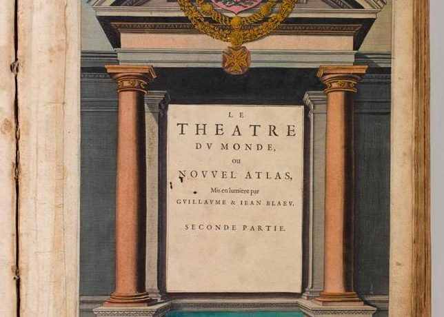 Frontispiece from Theatre Du Monde on Nouvel Atlas by Blaeu, 1640 in Armagh Robinson Library