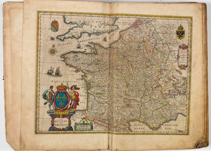 Map of Isle de France with Paris from Theatre Du Monde on Nouvel Atlas by Blaeu, 1640 in Armagh Robinson Library