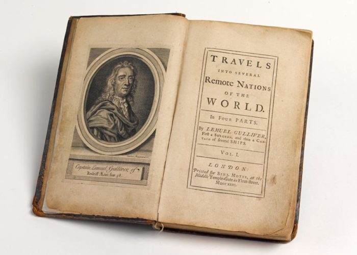Title page from P002465996: Travels Into Several Remote Nations of the World. In Four Parts. By Lemuel Gulliver, First A Surgeon, And Then A Captain Of Several Ships, by Jonathan Swift, 1726. This work is world renowned under the name 'Gulliver's Travels'. The Library holds a first edition with corrections made by Jonathan Swift himself, in Armagh Robinson Library
