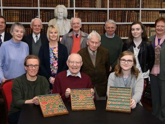 Staff and volunteers at the launchof the temporary exhibition Gems and Gems Literature in Armagh Robinson Library