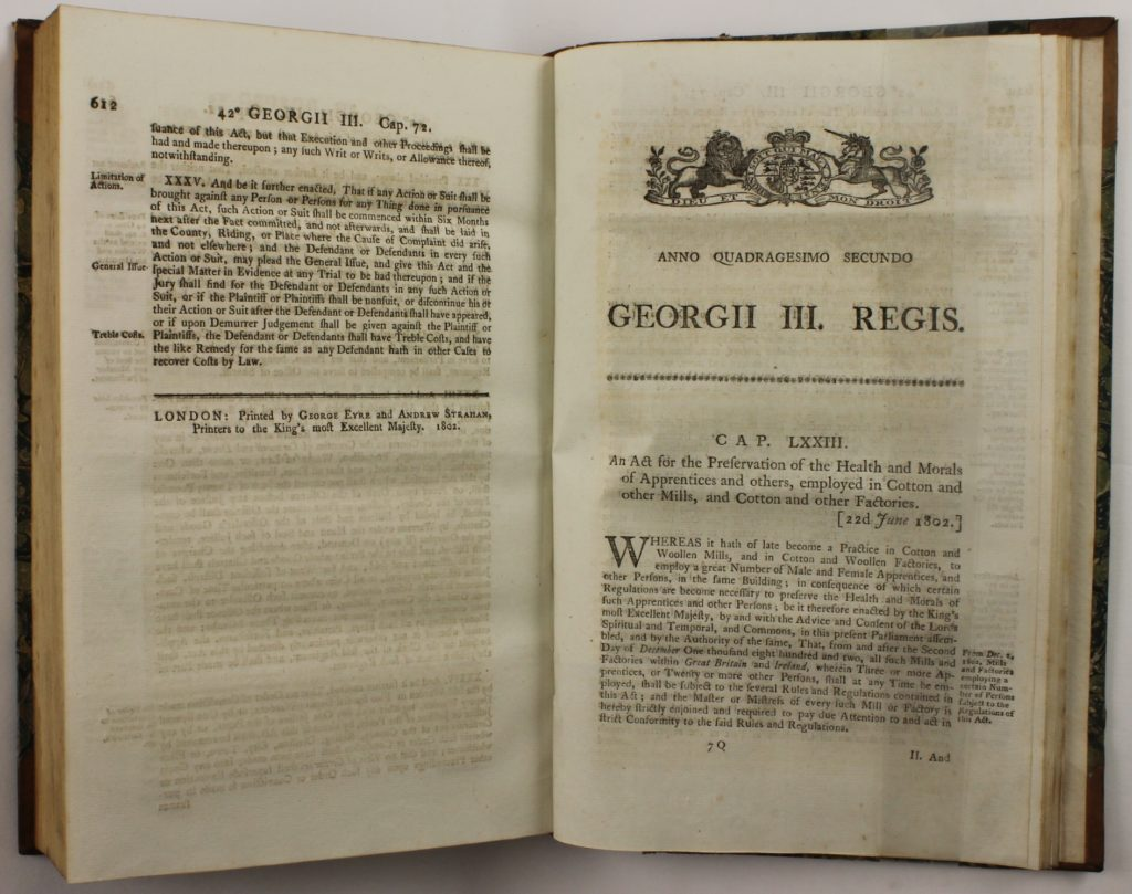 Rights of ChildrenAn Act for the Preservation of the Health and Morals of Apprentices and others, employed in Cotton and other Mills, and Cotton and other Factories, page 612-613