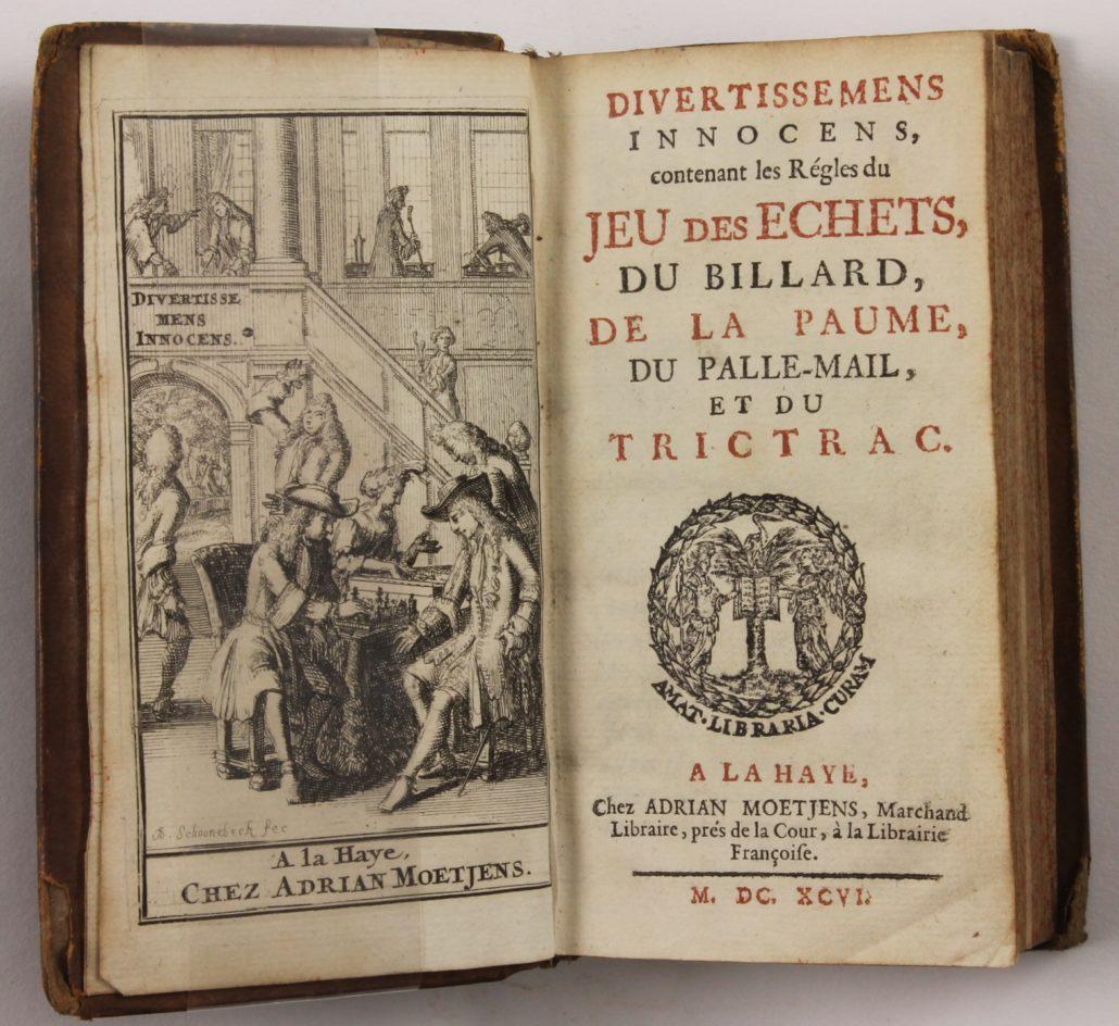 Title page of Divertissemens Innocens, contenant les Régles du Jeu des Echets, du Billard, de la Paume, du Palle-Mail et du Trictrac