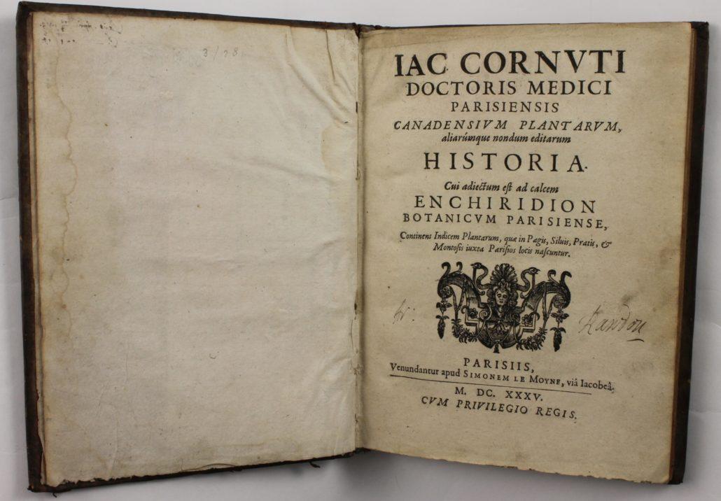 Title page of Canadensium Plantarum Historia