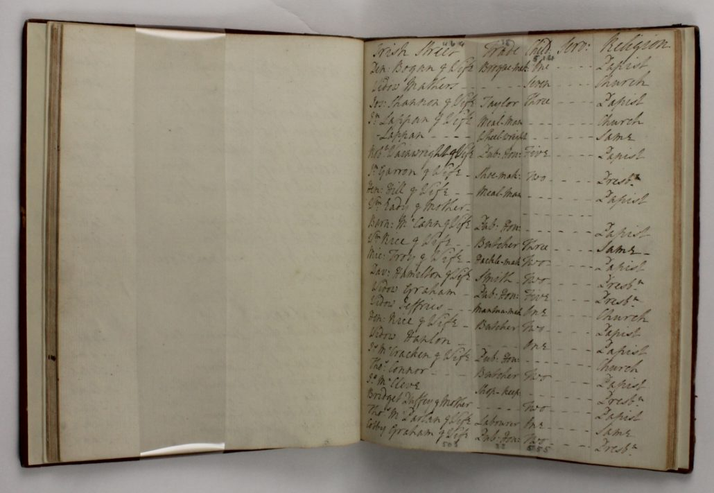 Entries 464-503 of A list of the inhabitants of the town of Armagh for the use of his Grace the Lord Primate