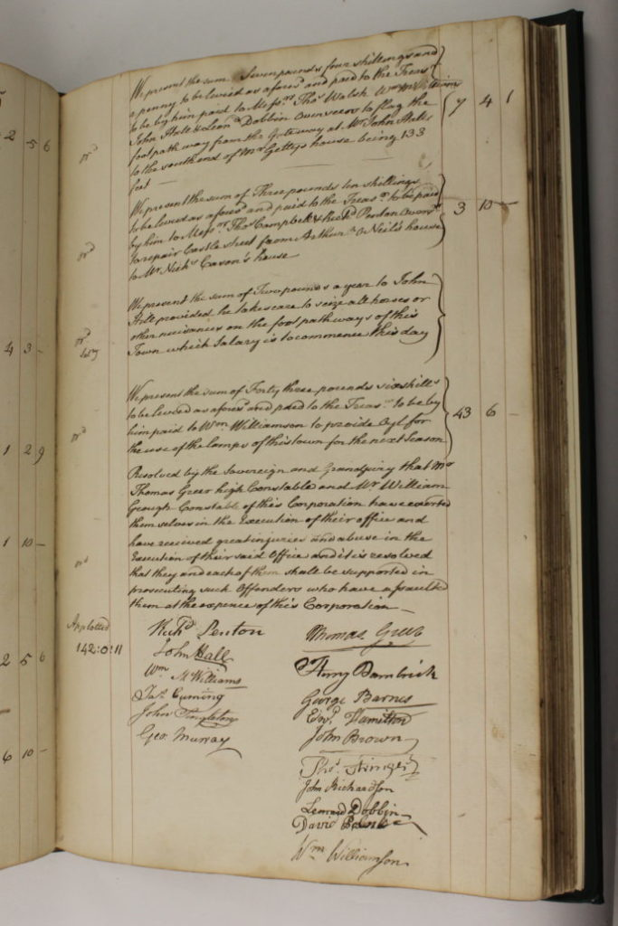 Entry for 1-8-1792 in the Entry 15-11-1784 in the Armagh Corporation Pipe Water Book