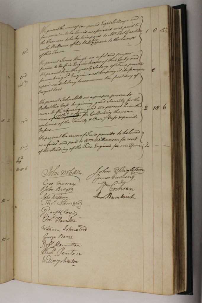 Entry for 27-2-1788 in Armagh Corporation Pipe Water Book