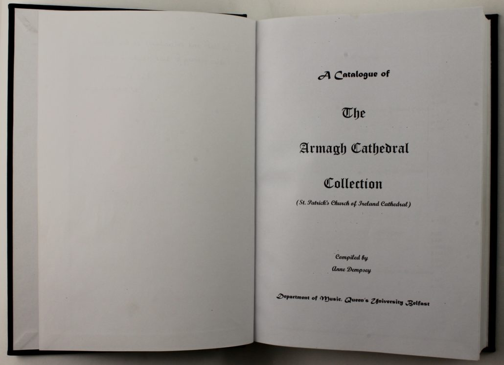 Title page of Armagh Cathedral Music Catalogue