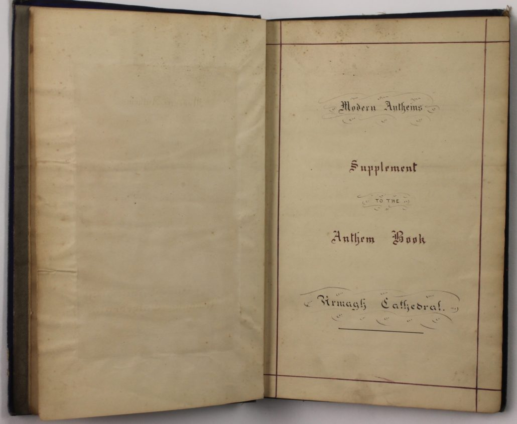 Title page of Modern Anthems Supplement to the Anthem Book Armagh Cathedral
