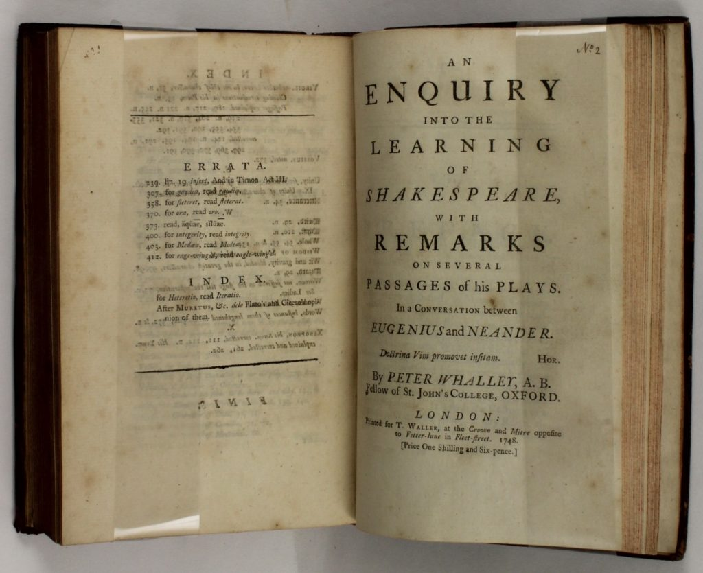 Title page of An Enquiry into the Learning of Shakespeare