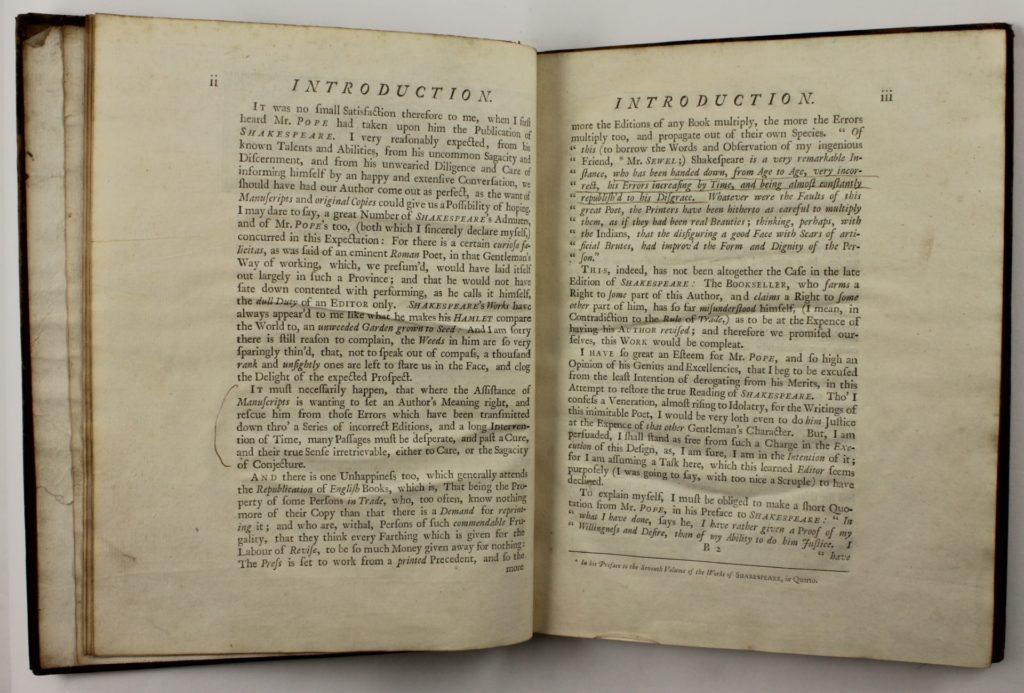 Page ii-iii of Shakespeare Restored