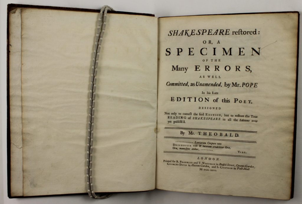 Title page of Shakespeare Restored