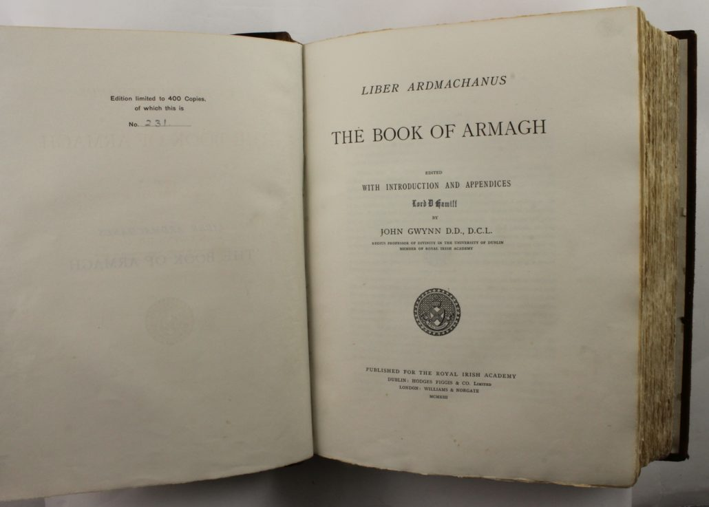 Title page of The Book of Armagh, by John Gwynn
