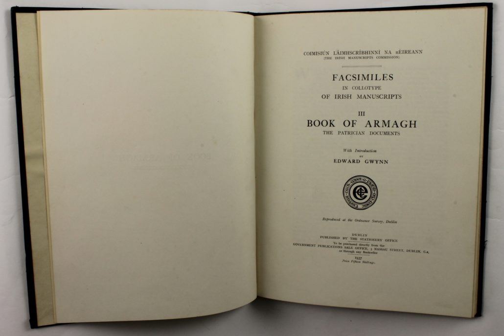 Title page of Facsimiles in Collotype of Irish Manuscripts: Book of Armagh. The Patrician Documents, by Edward Gwynn