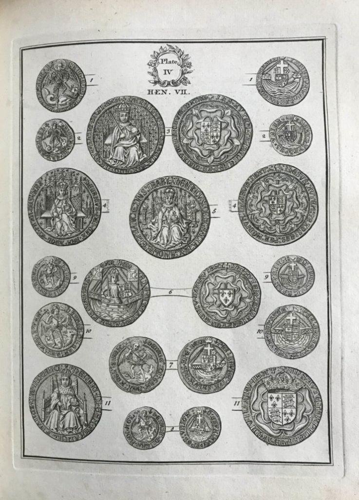Table of coins from Henry VII era from Tables of English Silver and Gold Coins