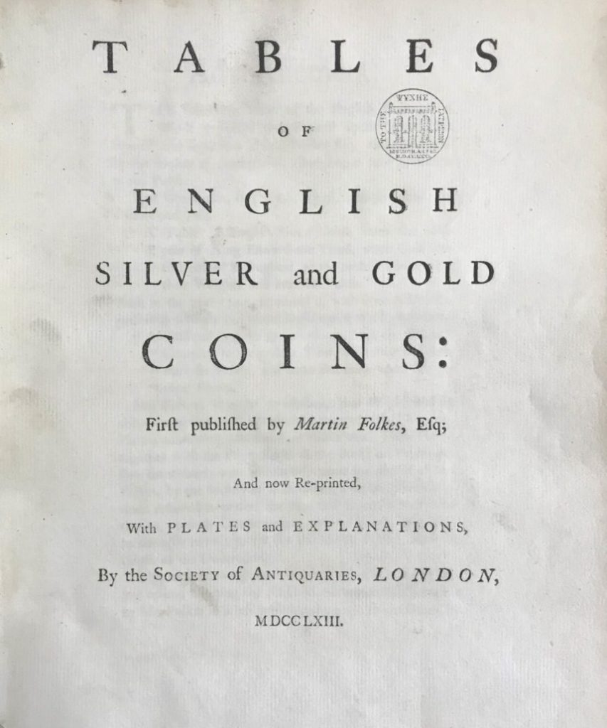 Title page of Tables of English Silver and Gold Coins