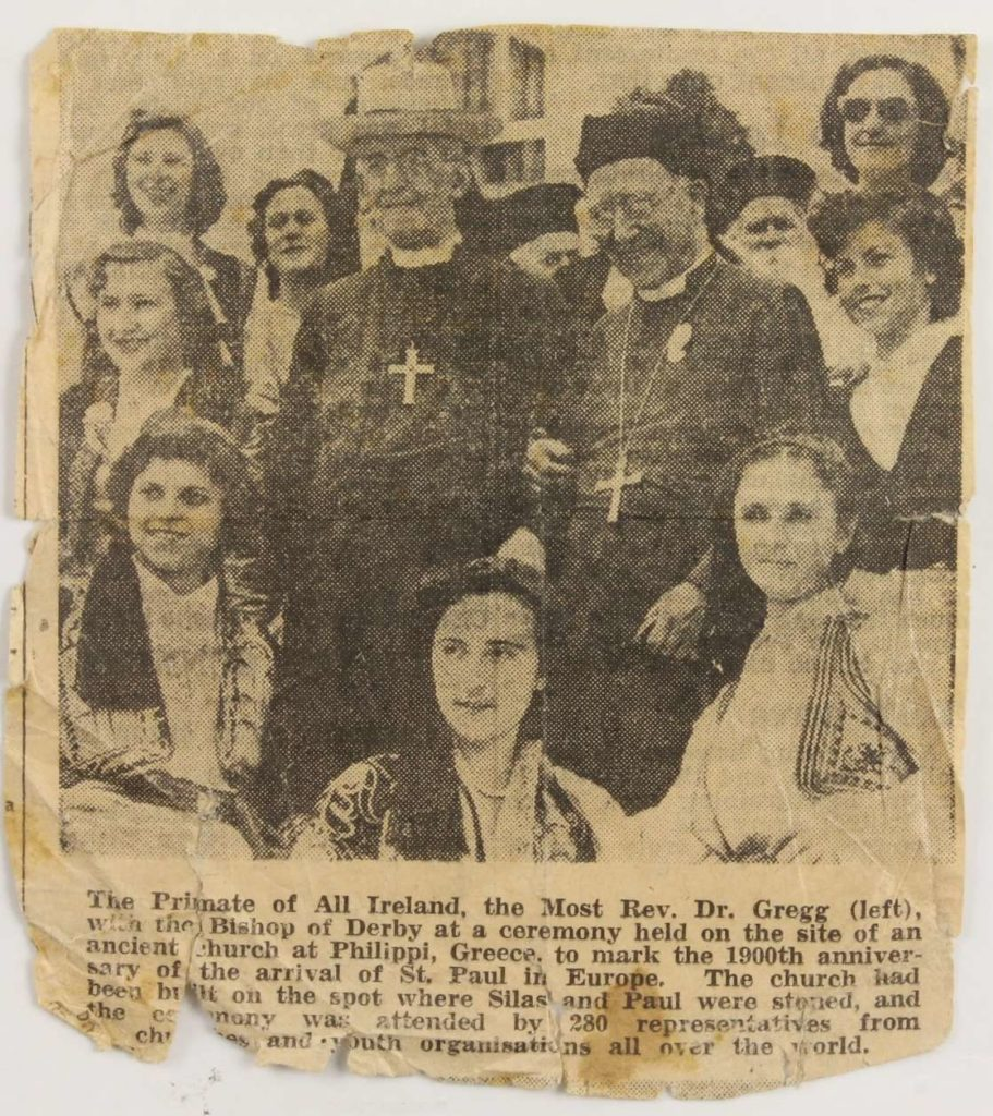 Newspaper cutting on Archbishop Gregg's visit to the site of an ancient church in Philippi, Greece