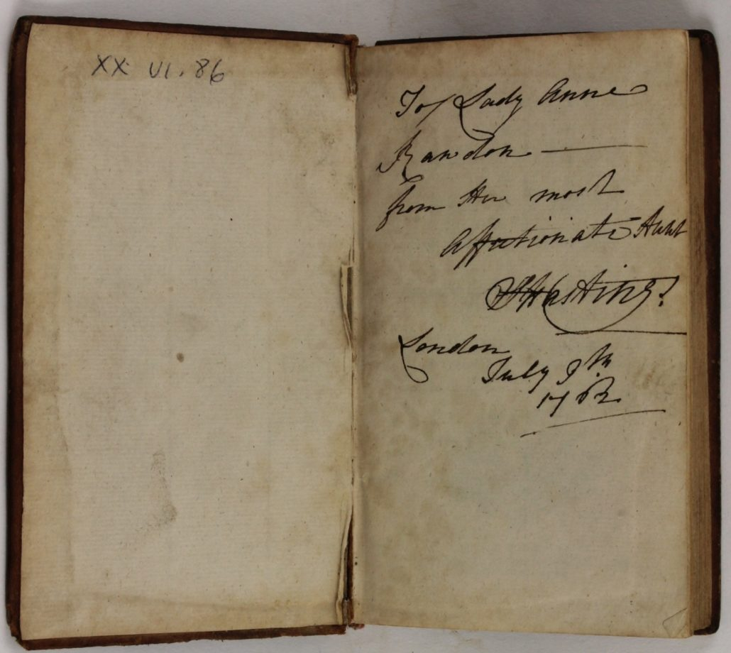 Inscription in Magasin des Adolescentes ou Dialogues entre une sage Gouvernante et plusieurs de ses Eleves to Lady Anne Rawdon