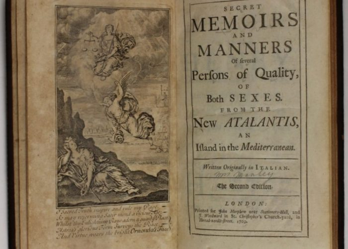 Title page of Secret Memoires and Manners of Several Persons of Quality, of Both Sexes. From the New Atlantis, and Island in the Mediterranean