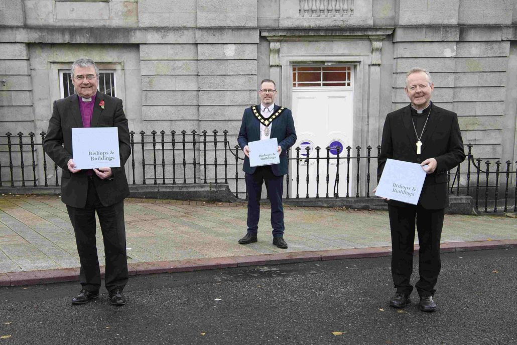With Armagh Robinson Library as the backdrop, Archbishops John McDowell and Eamon Martin, along with the Lord Mayor, Councillor Kevin Savage, launched the publication 'Bishops and Buildings'.