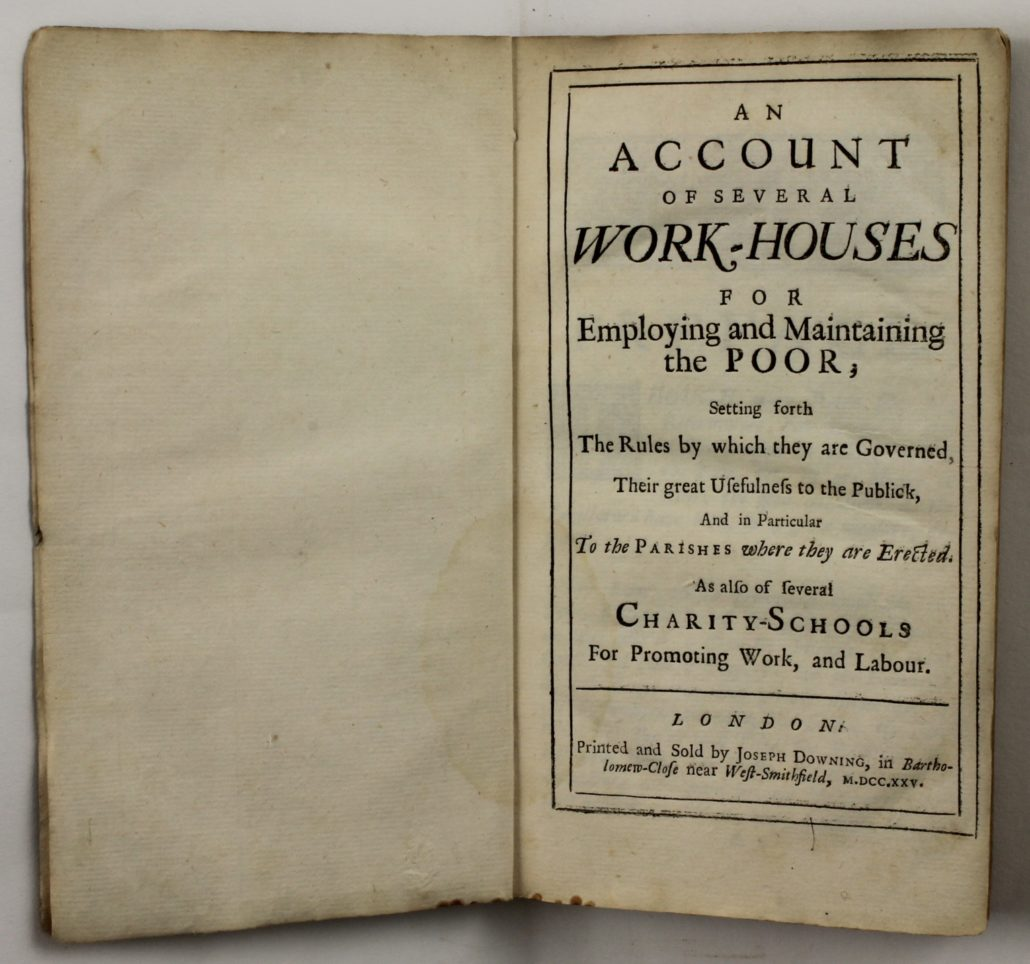Title page of An Account of Several Work – Houses for Employing and Maintaining the Poor […]