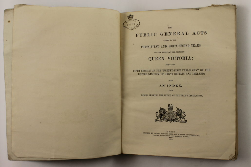 Title page Factory and Workshop Act 1878