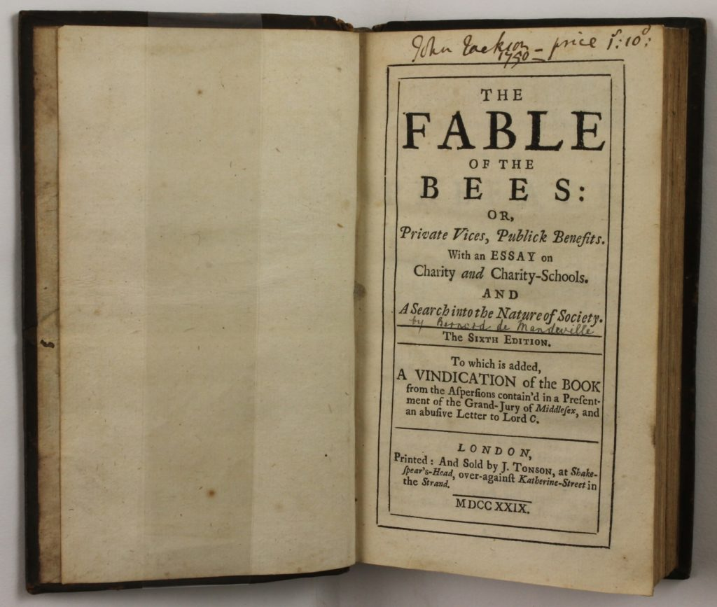 Title page of The Fable of the Bees or, Private vices, Publick Benefits. With an Essay on Charity and Charity-Schools and A Search in the Nature of Society