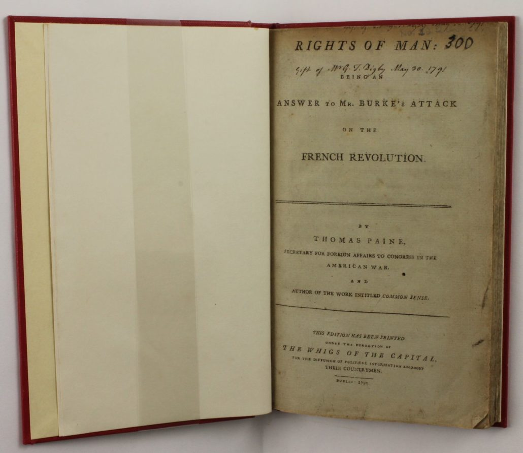 Title page of Rights of Man. Being an Answer to Mr. Burke's Attack on the French Revolution. The Second Part